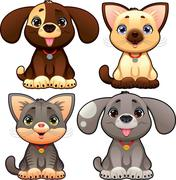 cute dogs and cats. - stock illustration