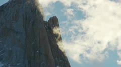 Closeup of Clouds forming over Mount Fitzroy in Argentina Stock Footage