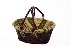 cane basket with handles up - stock photo