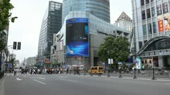 Crowded Nanjing Road in Shanghai, China, Henan, Pedestrian Shopping Street, Day Stock Footage