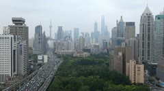 Timelapse Shanghai Cityscape Aerial View Modern Road Rush Hour Cars Asia Travel - stock footage