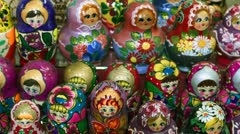 Collection of Matryoshka - or Babushka dolls.mp4 Stock Footage