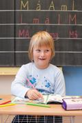 First year schoolgirl Stock Photos