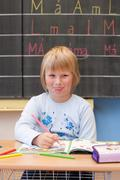 First year schoolgirl - stock photo