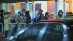 Black Friday People waiting in line and shopping Stock Footage