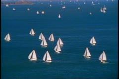San Francisco Bay, 1970's, Sailboats on San Francisco Bay, regatta shot - stock footage