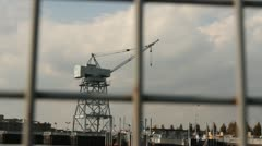Old Harbor Crane Stock Footage