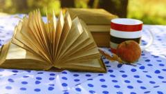 Wind turn old Book Pages on the table in warm sunny Day Stock Footage