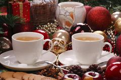 christmas still life with tea and biscuits - stock photo