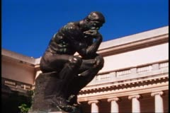 "San Francisco, 1970's, Rodin's ""Thinker"" in bronze, medium shot, no people Stock Footage"