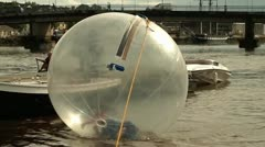 Hydro zorb water walker Stock Footage