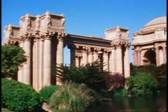 San Francisco, 1970's, Palace of Fine Arts, stylized ruin, fountain, no people Stock Footage
