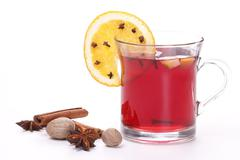 Mulled wine with spice and orange Stock Photos