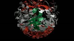 Lebanon flag sphere converging animation - stock footage