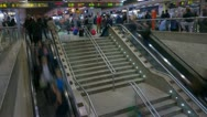 Stock Video Footage of Train Station escalators timelapse