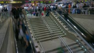 Stock Video Footage of Train Station escalators timelapse, 4K