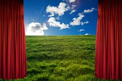 Blue sky behind red curtain Stock Photos