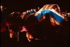 San Francisco, 1970's, Chinese New Year, night parade, dragon snaking Stock Footage