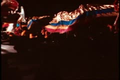 San Francisco, 1970's, Chinese New Year, parade, dragon snaking down street Stock Footage