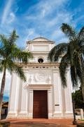 White Church with Palm Trees Stock Photos
