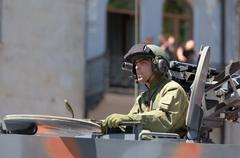 Officer in a tank on military parade. tbilisi, georgia. Stock Photos