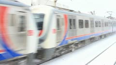 Train motion in snow Stock Footage