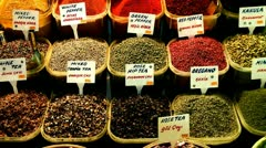 Selection of Spices at Istanbul Spice Market.mp4 Stock Footage