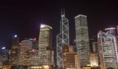 highrise office buildings at night. hong kong - stock photo