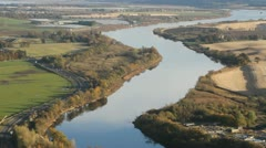 Elevated view of River Tay near Perth Scotland Stock Footage