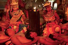 Bali - may 2012: kecak dance performance on stage Stock Photos
