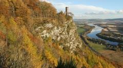 Folly on Kinnoull Hill in autumn Scotland Stock Footage