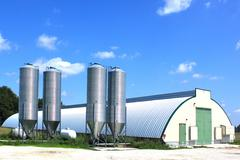 shed and silos - stock photo