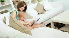 Caucasian Mother Child Wireless Tablet Stock Footage