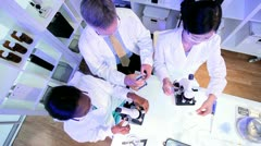 Multi Ethnic Medical Technicians using Laboratory Equipment Stock Footage