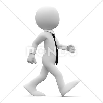 Stock Illustration of man walking with suit and tie