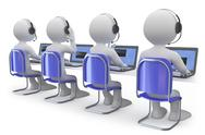 Employees working in a call center back view Stock Illustration