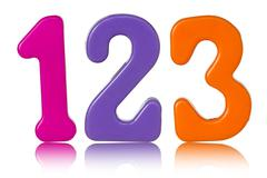 color numbers with reflection on white - stock photo