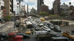 4K New York City Queensboro Bridge Traffic Timelapse 2 Stock Footage
