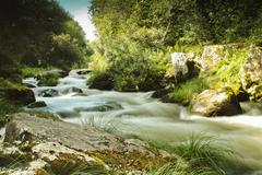umia river, caldas de reis, spain - stock photo