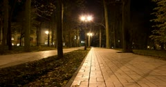 Night park with shadows of people. 4K 4096x2160 Stock Footage