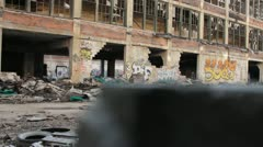 Track shot of bombed building (HD)c Stock Footage