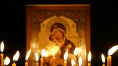 Orthodox Icon of the Most Holy Mother of God Donskaya Stock Footage