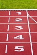 track lanes, numbers - stock photo