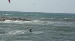 Kite surfing in Tel Aviv - stock footage
