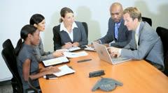 Multi Ethnic Business Team Receiving Good News Stock Footage