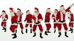Bunch of Santa Claus Dancing Against White, Christmas Holiday Background, Alpha  - stock footage