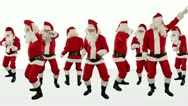 Stock Video Footage of Bunch of Santa Claus Dancing Against White, Christmas Holiday Background, Alpha
