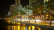 Stock Video Footage of Riverside Traffic Time Lapse Palm Trees, Honolulu, Hawaii,