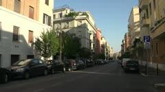 Narrow quiet residential street, Rome Stock Footage