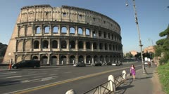 History & culture, Roman Colosseum, wide angle, mid-morning, handheld Stock Footage
